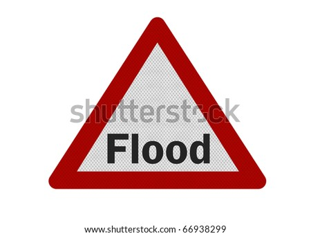 Photo realistic reflective metallic 'flood warning' sign, isolated on a pure white background. - stock photo
