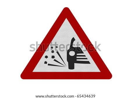 Photo realistic reflective metallic 'loose chippings' sign, isolated on a pure white background. - stock photo