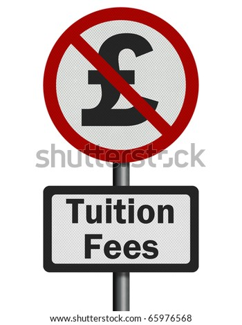Photo realistic reflective metallic 'no tuition fees' sign, isolated on a pure white background. - stock photo