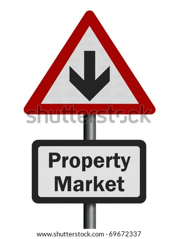 Photo realistic reflective metallic 'property market decline' sign, isolated on a pure white background. - stock photo