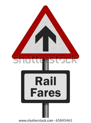 Photo realistic reflective metallic 'rail fares increase' sign, isolated on a pure white background.