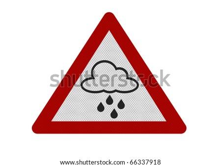 Photo realistic reflective metallic 'rain warning' sign, isolated on a pure white background. - stock photo