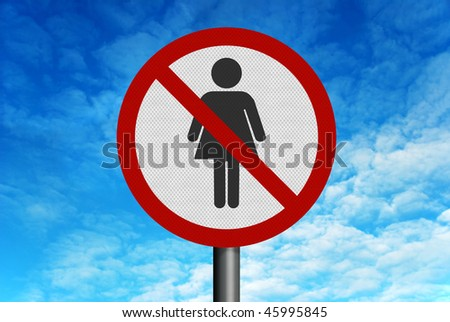Photo realistic reflective metallic road sign, depicting 'no women', set against a bright blue sky