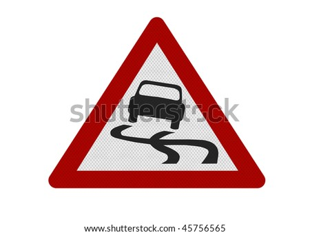 Photo realistic reflective metallic 'slippery road' sign, isolated on a pure white background.