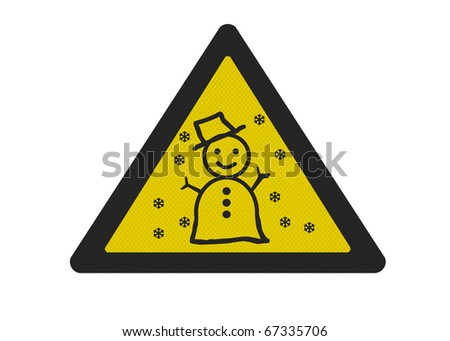 Photo realistic reflective metallic 'snow warning' sign, isolated on a pure white background. - stock photo