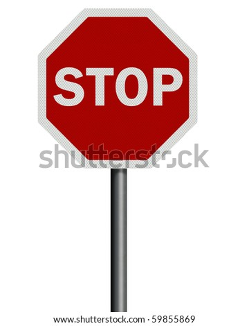 Photo realistic reflective, metallic 'stop' sign post, isolated on pure white. High resolution. - stock photo