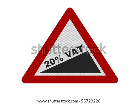 Photo realistic reflective metallic '20% VAT' sign, isolated on a pure white background. VAT rise stated in June 2010 budget speech. - stock photo