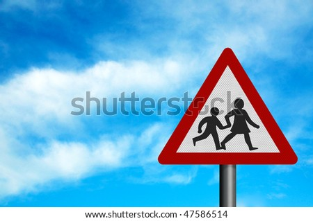Photo realistic reflective metallic 'warning - children crossing' sign,against a bright blue sky. With space for your text overlay / editorial.