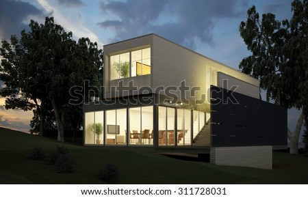 Photo-realistic render of the building in the open air.