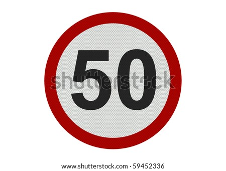 Photo realistic 'ten miles per hour speed limit' sign, isolated on a pure white background - stock photo