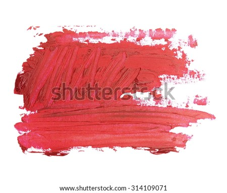 photo red grunge brush strokes oil paint isolated on white background - stock photo