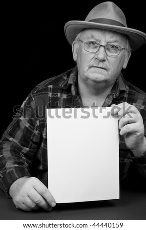 photo senior male close up with advert space for text - stock photo