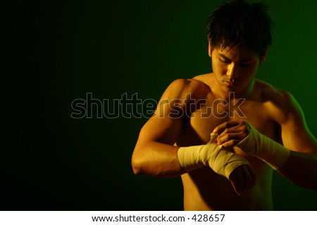 Photo Series of a young boxer prepping for a fight. Room for text - stock photo