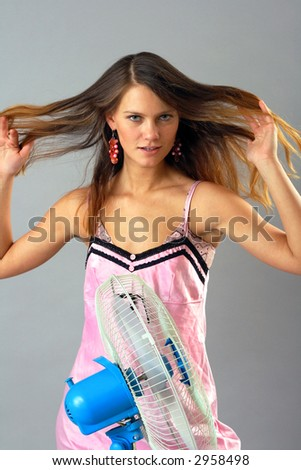 Photo-session in studio of the young girl - stock photo