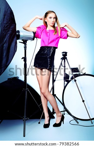 photo session in studio on a white background - stock photo