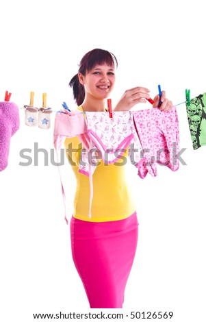 photo set of a housewife in a studio - stock photo