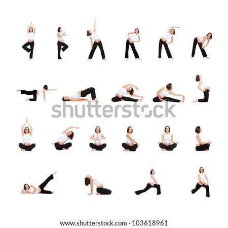 photo set of pregnant woman doing exercises isolated on white background - stock photo