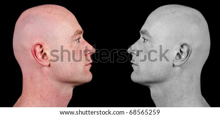photo shaved bald man side portrait - stock photo