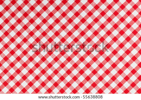 photo shot of checked fabric , tablecloth texture - stock photo