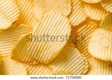 photo shot of potato chips - stock photo