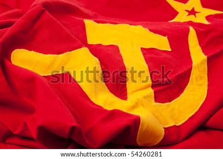 photo shot of soviet flag - stock photo