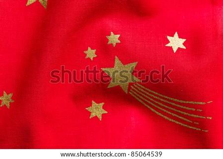 photo shot of stars on red fabric - stock photo