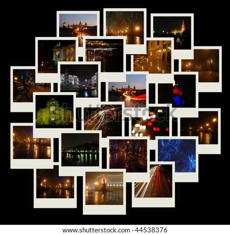 Photo shots with night city landscapes - stock photo
