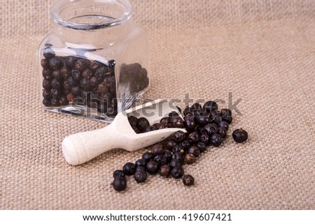 photo showing juniper in measuring containers with a wooden scoop - stock photo