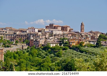 Photo shows a general view of the Tuscany city of Siena.