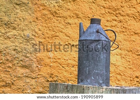 Photo shows rural ewer with yellow background.
