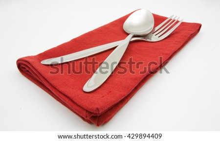 photo silverware fork napkin - stock photo