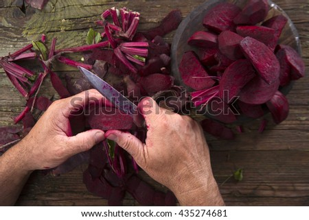 Photo slide show of the moment when you peel the beetroot