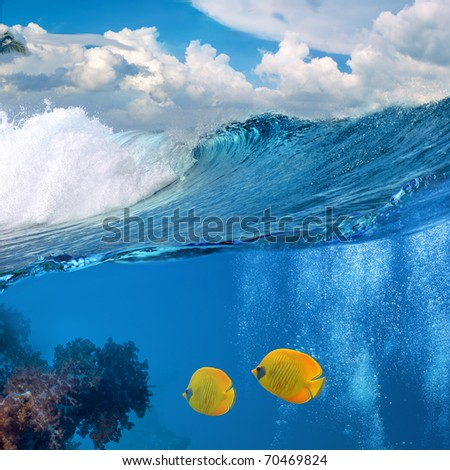 photo splitted two parths with waterline underwater and seascape - stock photo