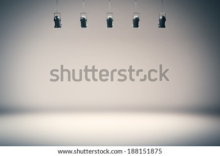 Photo studio background with spotlights - stock photo