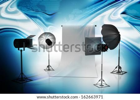Photo studio equipment - stock photo