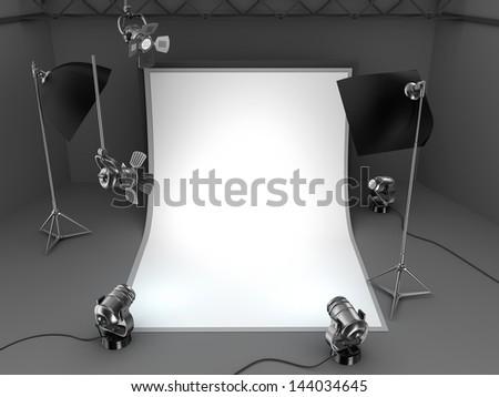 Photo studio equipment background - stock photo