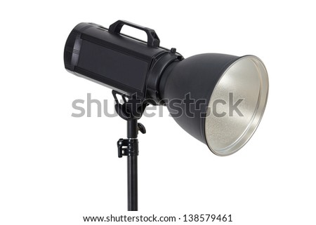 Photo studio flash lighting equipment isolated on white background