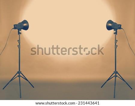 photo studio, gray background, retro filtered, instagram style - stock photo