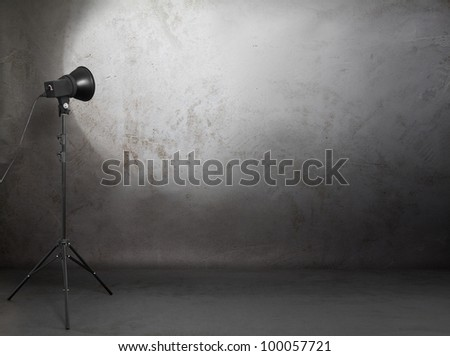 photo studio in old grunge room with concrete wall, urban background - stock photo