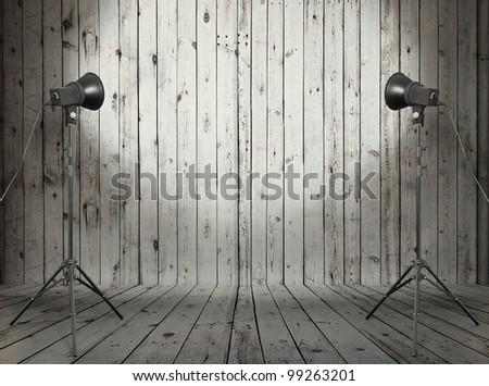 photo studio in old wooden room - stock photo