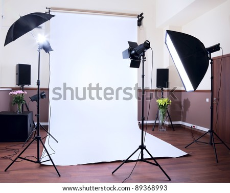 Photo Studio in private school with lighting equipment - stock photo