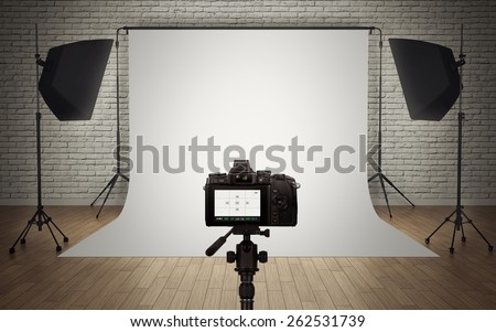 Photo studio light setup with digital camera. 3D rendering - stock photo