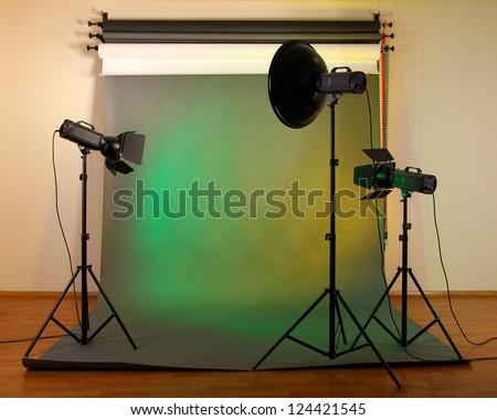 photo studio with lighting equipment - stock photo