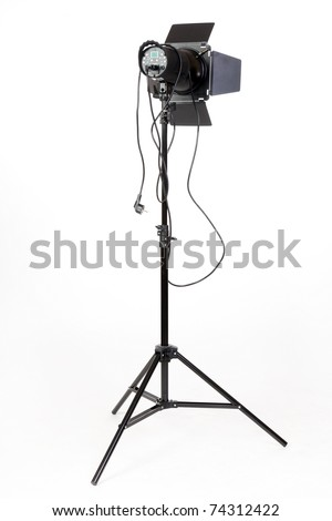 Photo-studio with lighting equipment - stock photo