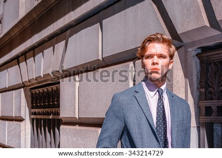 Photo stylized look and strong harsh sunshine to represent young man attitude - confident, determination, success. American College Student traveling, studying in New York. City Boy.  - stock photo