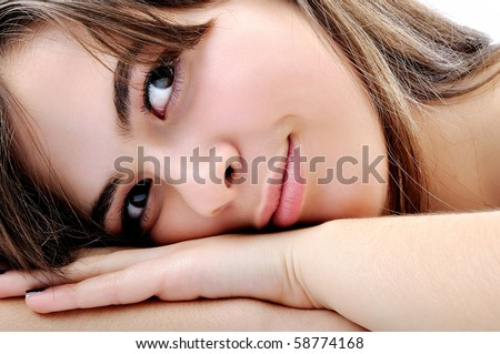 Photo:  Sweet skincare. Attractive girl applying face pack. beauty concept - stock photo