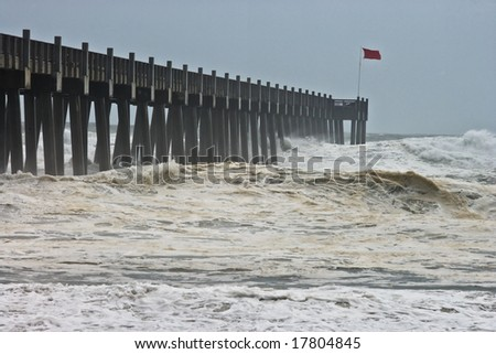Photo taken amid sea spray and crashing waves as Hurricane Ike's outer bands impact the Florida coast, September 2008. Almost ruined my camera taking this series. - stock photo