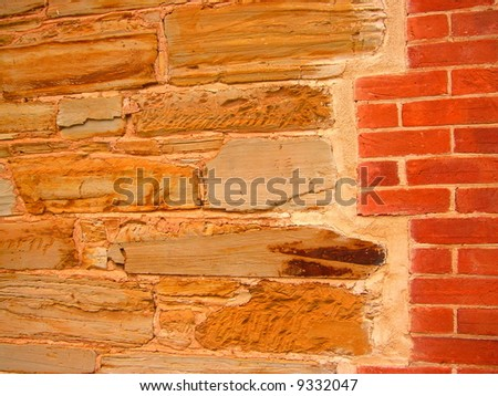 Photo taken at historic Willunga featuring architectural detail (sandstone) of the old court house building (South Australia). - stock photo