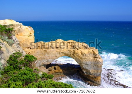 Photo taken of The Arch on the Great Ocean Road (Victoria, Australia). - stock photo