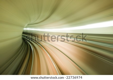 Photo taking in front of train, long exposure. - stock photo